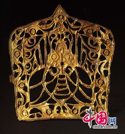 金帽饰,北朝。北京顺义区出土